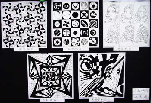 现;单独纹样花卉色彩图案练习;正方形式图形适合纹样色彩图案练习